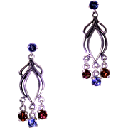 Art Nouveau Style Garnet Topaz Drop Earrings