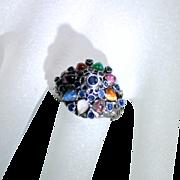 Vintage Multi Gemstone 14 Karat Yellow Gold Princess Pinky Ring
