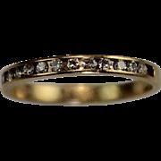 Vintage 14 Karat Gold Diamond Half Eternity Stack Wedding Band Ring Estate Jewelry