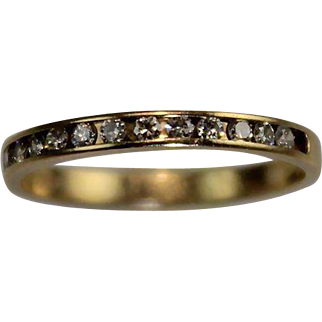 SALE Vintage 14 Karat Gold Diamond Half Eternity Stack Wedding Band Ring Estate Jewelry