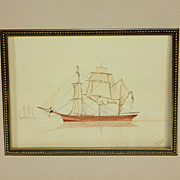 """British School- Pen and Watercolor Drawing of Sailing Ship entitled """"Becalmed""""."""