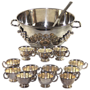 Impressive Silver Plate Punch Bowl with Cups, Ladle, Grapes