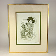 """Pencil signed/numbered D. Eder lithograph, """"Rocking Geisha"""""""
