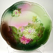 Antique Bavaria Zeh Scherzer & Co (ZS&Co) Cabinet Plate, Chrysanthemums