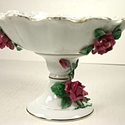 Unusual Hand painted Lefton Compote with Red Roses