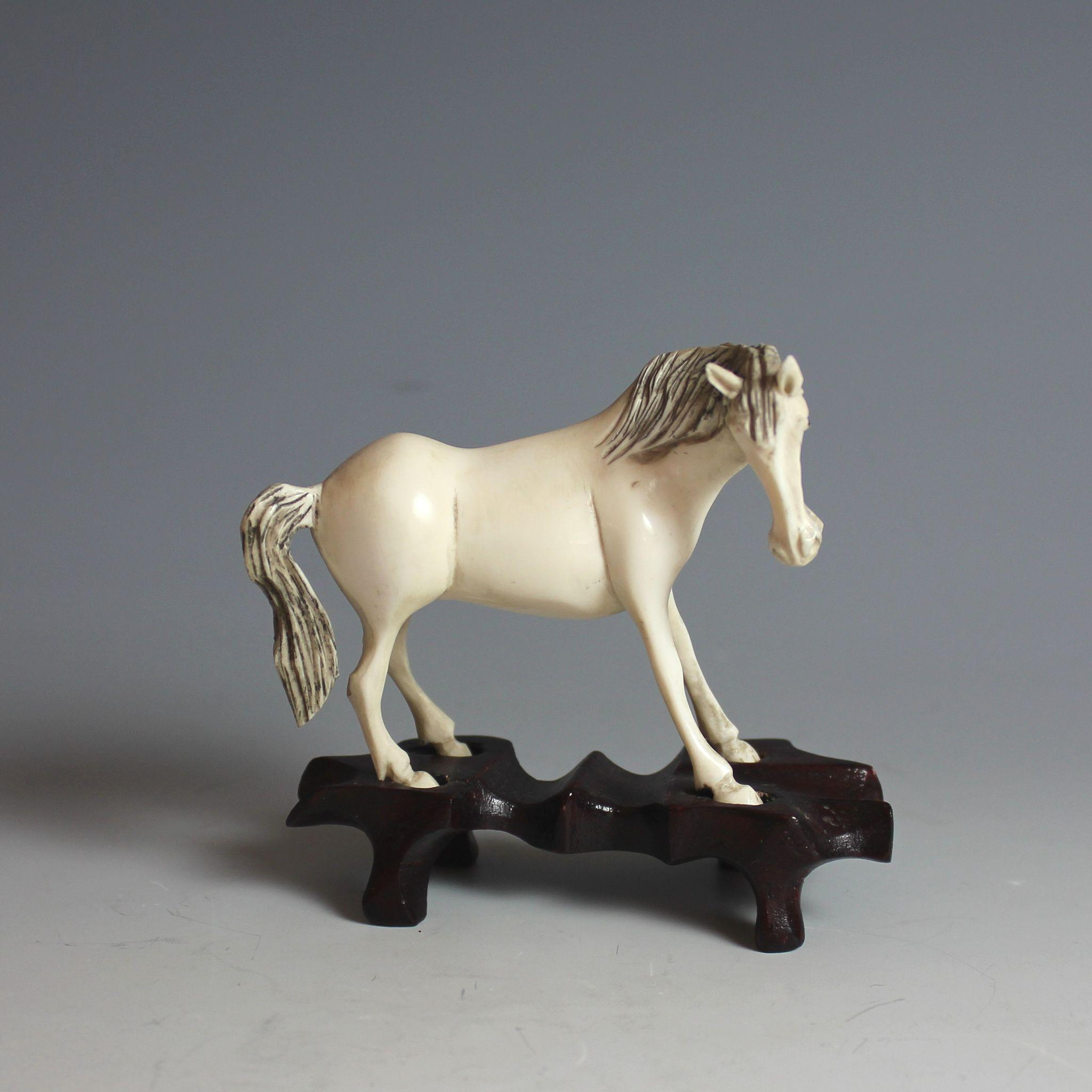 Vintage Chinese Carved Sculpture of a Horse with Fitted Stand