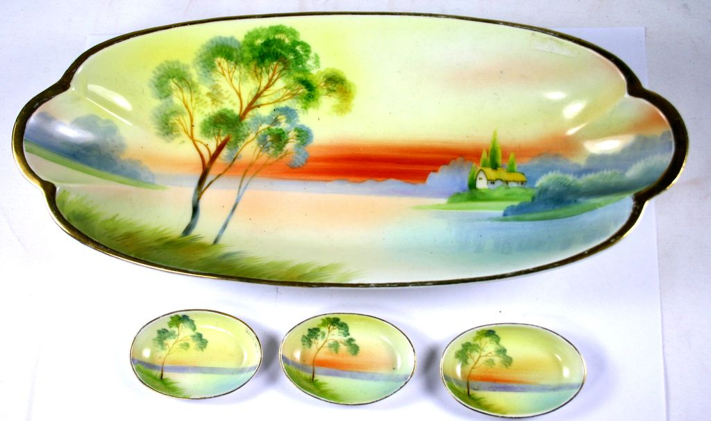 Vintage Hand Painted Nippon Vegetable Dish with Small Pats