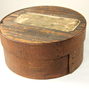 19th c Medium Size New England Pine Bentwood Pantry Box, Oxidized Surface