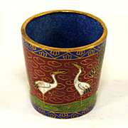 Early Signed Chinese Cloisonne Cup with Storks