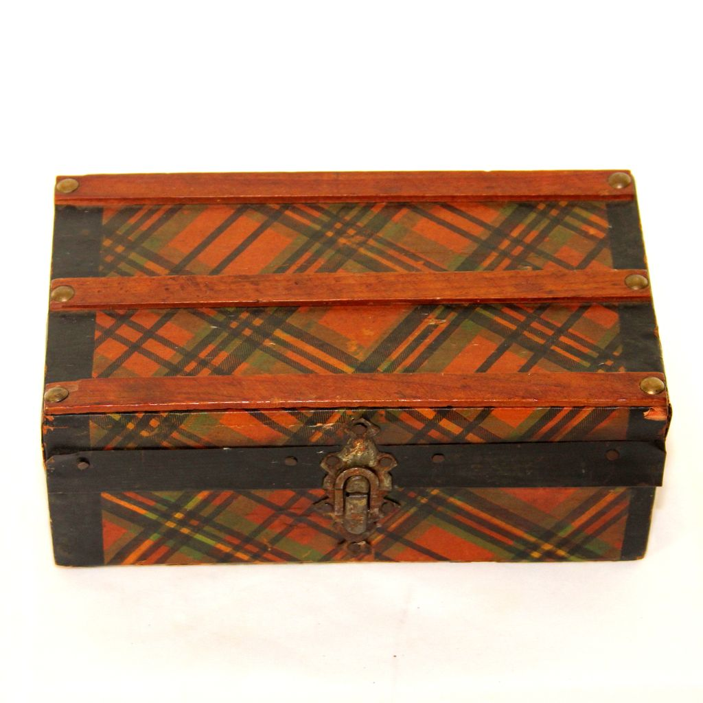Unusual Tartan Ware letter/pen box