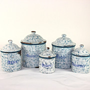 French enamelware, graniteware canister set Snow on the mountain