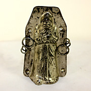 Antique French Santa chocolate, candy mold, with bag of presents