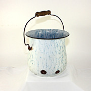 Antique French enamelware, graniteware white blue veined bucket