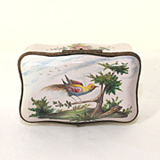 Antique French Faience trinket box with bird