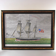 Original watercolor of 18th Century Sailing Ship