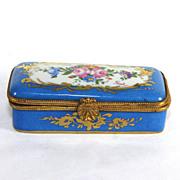 Blue Paris Limoges hand painted, signed trinket box