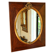 Antique French chestnut and gold gesso mirror, style of Louis XV