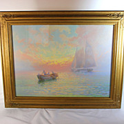 "Maritime Seascape painting titled ""Morning"" by American Artist Victor Casenelli (1867-1962)"
