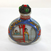 Early Glass hand painted Chinese snuff, perfume bottle, signed D