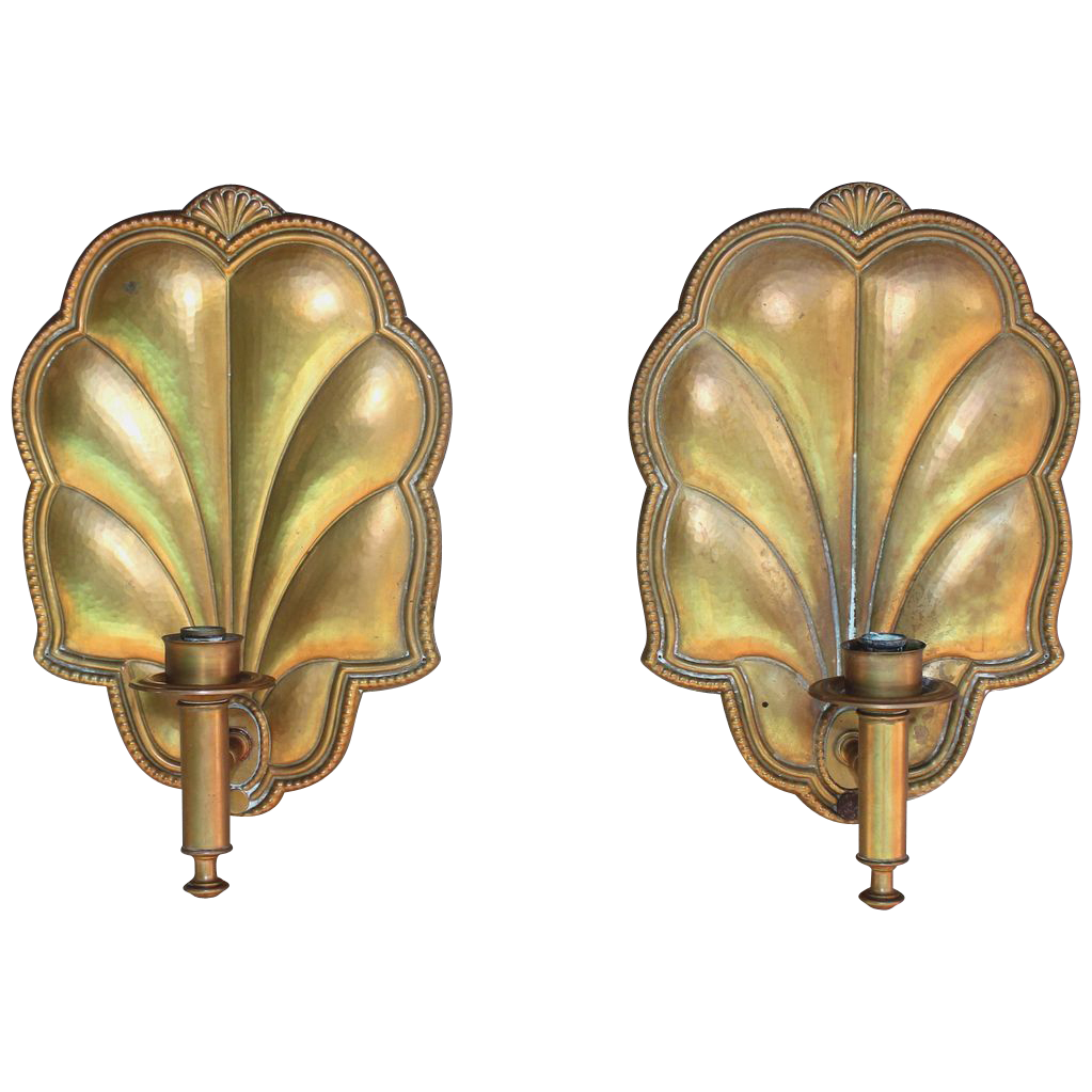 Pair of Antique French wall sconces, gilded copper
