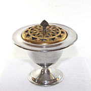 Vintage silver plate potpourri vessel with decorative reticulated lid
