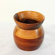Beautiful hand carved signed treenware vase, mahogany, oak and walnut