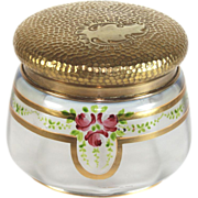 Beautiful French enameled glass powder jar with gilded lid