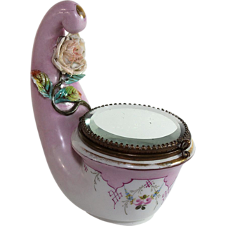 Antique French Porcelain Trinket Box with very unusual design