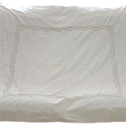 Antique French White Cotton Open-Worked Baby Duvet Cover