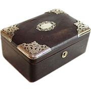 Antique French sewing box, leather covered with silver plate corners