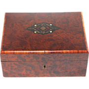 Antique French Inlaid Burl wood Jewelry Box