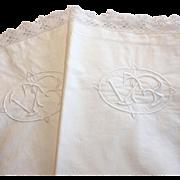 Lovely pair of French Monogrammed European pillow shams