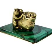 Sterling Silver Miniature Sculpture Dog Mouse and Shoe on Malachite base Jeweled Eyes
