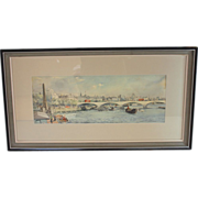 Water Color Painting of Waterloo Bridge by Frank C. Belcher