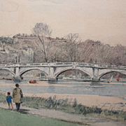 Water Color Painting of Richmond Bridge (London) by Frank C. Belcher