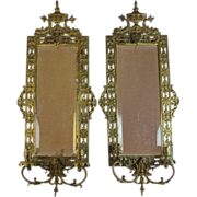 Pair of Antique Bronze Mirror Sconces with Fish Decoration