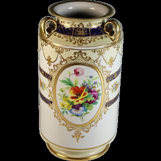 Nippon Hand Painted  Moriage Vase Three Handles