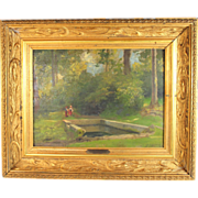 """Oil Painting titled """" Lavoir a  Chaville """" by French listed artist Charles August Corbinea"""