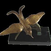 Modernist Bronze Sculpture of a Bird on a Branch