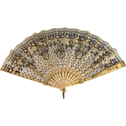 Antique French Eventail Fan Facher Ventaglio with Gold/Silver Angels