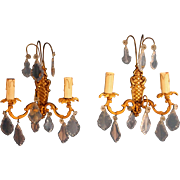Pair of Antique French gilded bronze sconces with beveled crystals B