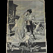 French Stevengraph  Picture Woven Silk D'apres R Rossler Wedding Couple Cherub