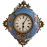 Antique French Enamel Ware Wall Clock Graniteware Enamelware