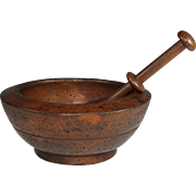 Antique French Wood Wooden Mortar and Pestle