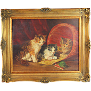 French School  Oil on Canvas Painting of Three Kittens