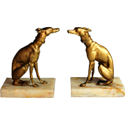 Antique French Bronze Sculpture of a Whippet by E. Oudine