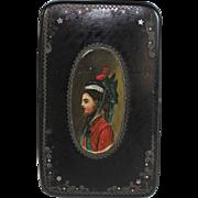 Antique Paper Mache Snuff Box with Hand Painted Miniature Portrait