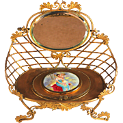 Large Antique French Gold Metal Dresser Box with Portrait and Mirrors