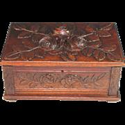 Large Antique Black Forest Keepsake Box with Roses