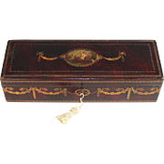 Antique Austrian Leather Embossed Gentlemen's Box with Key F.W. Papke